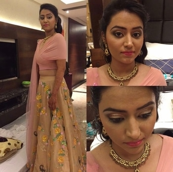 Engagement Makeup for this pretty client #softsmokeylook to enhance her eyes more #withgoldpigments #pinknudelips #messyhairstyle #arubakhanmakeovers #delhimakeupartist