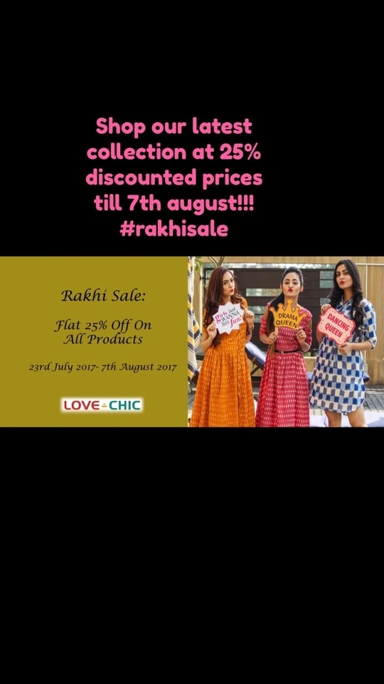 Visit our website : www.lovechicclothing.com • 25% discount on all products #shopnow #rakhisale