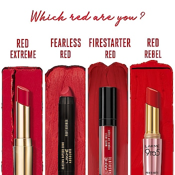Which red are you? Lakmé Absolute Matte Ultimate Lip Color- Red Extreme Lakmé Absolute Kareena Kapoor Khan Collection Pout Definer- Fearless Red Lakmé Absolute Matte Melt Liquid Lip Color- Firestarter Red Lakmé 9to5 Primer+Matte Lip Color- Red Rebel #Lakme #LakmeIndia #Red