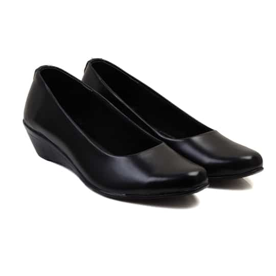 Heel height 1.5inches A pair of round toe black wedges with slip on and low top styling,synthetic upper has a heel collar.