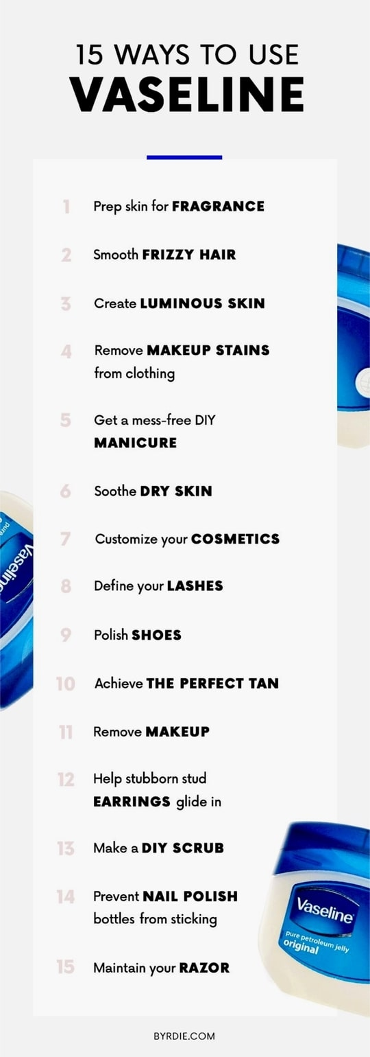 15 ways to use Vaseline in your daily lifestyle. Some of the tips are very helpful and so easy. #beautytipsandtricks