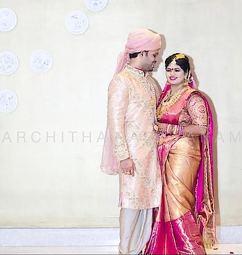 ~our bride and groom shine bright in ANcouture~ #archithanarayanamofficial #bridalcouture #menswear #womenswear #sherwanis #sarees #traditional #blouses #pretty #bright #handcrafted #happybrides #happygroom l#indiandesigner #embellished #bridestobe #indian #weddings