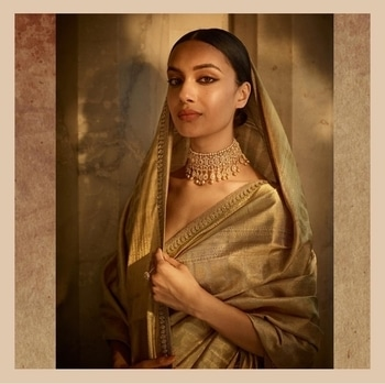 One of my favourites from my latest Sabyasachi campaign ✨ Repost sabyasachiofficial ・・・ A gold Kanjeevaram Tissue sari paired with fine Diamonds set in yellow gold and old Pearls. A maximalist-minimalist styling with a spiritual vibe.  #Sabyasachi #StatementNecklace #Bridalwear #DiamondJewellery #JadauJewellery #GoldJewellery #BridalJewellery #IndianDesigner #IndianCouture2017 #TheWorldOfSabyasachi #grateful  Location Courtesy: Rambagh Palace