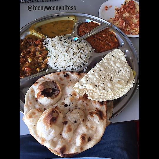 Long drive, slow music and dhaba ka khana is all you need. In the plate #Roti #MasalaPapad #Salad #JeeraRice #DaalFry #SeasonalVeg #PannerSabji  Follow 👉🏻👉🏻@teenyweenybitess 👈🏻👈🏻 . . . . . #TeenyWeenyBitess #Foodie #FoodieForLife #Foodislife #PicOfTheDay #FoodLover #Foodaholic #InstaFoodie #FoodBlogger #FoodPorn #FoodGram #FoodArt #FoodDiary #India #IndianFood #ZingyZest #Dinner #Aadiivasii