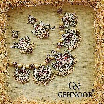 It's a New Year & Presenting to you our Newest Jewellery Collection designed with absolute Precision & Craftsmanship! 💟 When this gorgeous piece was put together by our Design team we couldn't stop admiring the beauty that we created at such affordable price! These Gorgeous Meenakari Work Neckpiece with Earrings adorned with Enamel Work & Rich Fine Pearls are what Jewellery Dreams look like! 🎉👍😊 . Grab these beauties till stocks last! ☺💟 . www.gehnoor.com 💻 . FB Page www.facebook.com/Gehnoor/ . Instagram handle www.instagram.com/gehnoor/ . Email ID gehnoor@gmail.com . #gehnoor #bride #goldjewellery #kundannecklace #traditionaljewellery #wedding #destinationwedding #indianbride #photooftheday #instabride #bridalwear #ootd #bridaljewellery #igers #tags #like #likeforlike #followfollow #followus #followback #neckpiece #necklace #earrings #pearl #kundan #meenakari