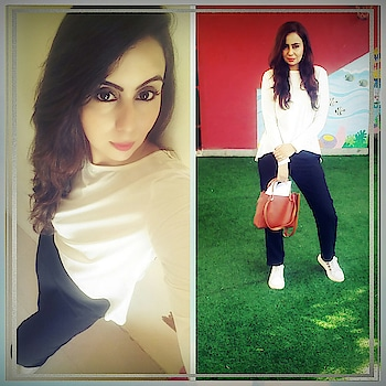 For all the girls who love Comfy clothes but confused what to wear , then White and black is always your safest combination✌  Disclaimer: comfortable clothing always the best. A loose stylish white top, straight fitted pants team it up with your best sneakers or shoes , favourite handbag and you r ready to go😊  #girlstyle #comfyclothes #black #white #styler #fittedpants #loosetop #sneakers #handbags #stylingtips #stylemaniac