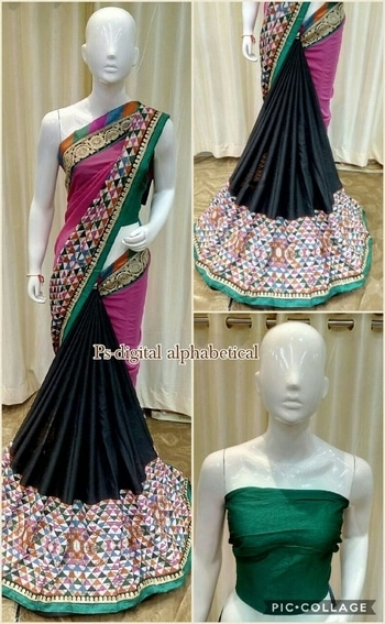 Brand new design.  Fabric Georgett + crape with beautiful work embroidery border + alphabet print .Best price RS 1999+shipping single colour.  Status ready to ship
