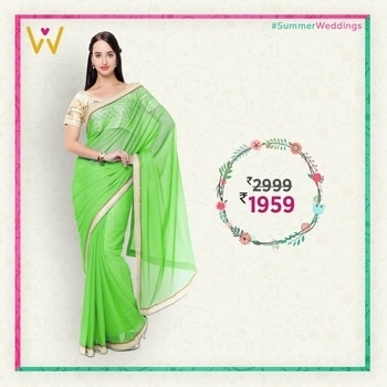 Sarees that can be worn to any wedding occasion with charisma!  Shop for this tremendously beautiful Green Colored Saree to add a zest of fashion in #SummerWeddings from WedLista.com!  Product Code: TSSF9715C  #WedLista #FashionforWeddings