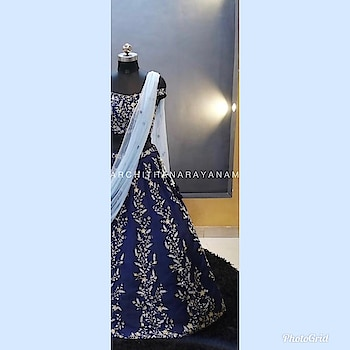~Detail therapy~ So much that goes in to making of a beautiful silhouette !! ~A blue eye candy~  An Off shoulder Navy blue embellished blouse and lehenga !! #archithanarayanamofficial #bridalcouture #engagement #reception #sangeet #bridestobe #toprankpost #sweet16 #lehengas  #designer #life #detailedtherapy #couture #bridal #wedding #style #fashion #indianbride #indianwedding #navyblue #ootdfashion #fashion #life