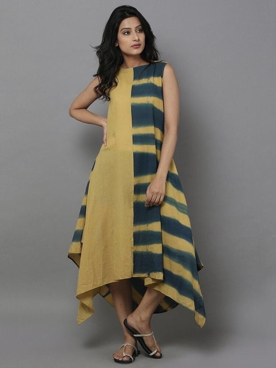 """Mustard Yellow & Green Tie Dye Dress  Fabric is Cotton rayon. Mustard Yellow & Green Tie-Dye Dress effect with plain fabric. Lenght is 50"""" & sleeves can be done on order. - See more at: http://www.thesewingmachine.in/Dresses---Kurtas/Mustard-Yellow---Green-Tie-Dye-Dress-id-2920148.html#sthash.vISMqsCG.dpuf #cotton"""