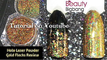 """This amazing Holo Laser powder Gold Flecks Chrome Magic Effect Nail Glitter sent to me by Maggie from @beautybigbangs #beautybigbang  🌸 Product ID #J6432 🌸 Product link : https://www.beautybigbang.com/products/0-2g-box-galaxy-holo-laser-powder-gold-flecks-chrome-magic-effect-nail-glitters . .  You can used my 10% sitewide coupon code """"ISH10"""" when you make your purchase via www.beautybigbang.com The site supports PayPal as payment method with free worldwide shipping over 1 item... Delivery time is usually 2-4 weeks..  . . 💟 This is a beautiful Holo Laser gold flecks .. Finishing is amazing of this product  💟 I've used over black base  💟 after applying black Base I used a no wipe gel coat and sealed off with the same no wipe gel top coat.   💟 I recommend this product . Full Review with Demo is up on my YouTube channel, link is in the bio👆 Go watch it, show some love 💖 and dont forget to hit the Subscribe button 😌 . #designyournailsbyisha #ishanailart #nailflecks #nailglitters #nailsofigstagram #naillovers #nailartclub #nailartswag #nailswag #nailartjunkie #nailartappreciation #nailartcult #nailartwow #nailartsist #nailartpromote #notd  #nailarttips #holographicpowder #goldlaserholopowder #chromepigment #nails #nailblogger #roposonails #roposofashion #roposoblogger"""