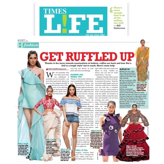 A great Monday motivation ❤️ Styling tip- try Ruffle trend this Summer.  Read how Aashima Behl talks about the trend in Times Life.  . . . #aashimabehllabel #designist #pressrelease #ruffle #trending #this #summer #grabyourcopynow #readaboutit #timeslife #stylingtipsandtricks #designerlife #designertalk #styling #stylingideas #summertrends #summertip