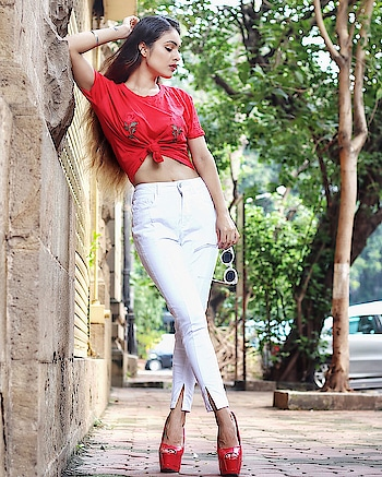 "I'm At That Place In My Life Where Peace Is My Priority And Negativity Can Not Exist ..😍 #goodvibesonly ✌️ : : #goodvibes #positivevibes #positivity #happygirl #positivevibesonly #happy #positivethoughts #redtshirt #white #denim #chicstyle #casualstyle #sexy #hot #redheels #fashionista #stylish #nehamalik #model #actor #blogger #instafollow #instalike #instadaily #instagood #tagsforfollow : : Outfit @nakdfashion  Use my code ""Malik20"" to get amazing discounts 😍💃😍 Photography @thetiltedlens"