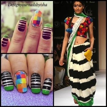 MASABA GUPTA Saree Inspired Nail Design  Full Tutorial is up on my YouTube channel, link is in the bio👆 Go watch it, show some love 💖 and dont forget to hit the Subscribe button 😌  #designyournailsbyisha #ishanailart #masabasaree #sareeinspirednails #masabagupta #tapemanicure #bornprettynailart #nails2017 #dressnailart #designersaree #designbymasabagupta #nails #21780 #nailsonfleek #nailitdaily #nailart  #nailstoinspire #clothesnails #clothinspirednails #roposoblogger #roposonails #soroposo IG:design_your_nails_by_isha🌸