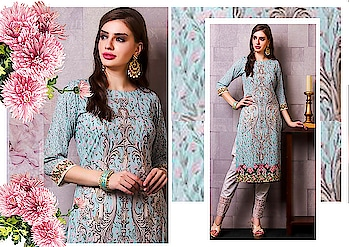 Shop for evergreen classy dress material for all occasions at www.WishAlley.com #ethnicwear #partywear #indiansuits #pakistanisuits #floraldrsses #gotapatti #embroided #suits #kurtis #kurtas #pants #phulkaripants #ciggarettepants