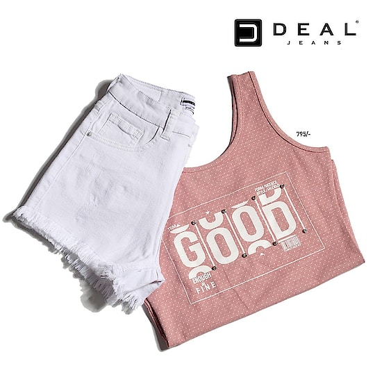 Make your vacations stylish in pastel hues and denim shorts 🌸  #dealjeans