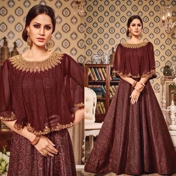 Brown Silk Party Wear Anarkali Suit Product code - FCSS771  Available at www.fashionclozet.com  Watsapp - +91 9930777376 Email -  info@fashionclozet.com Or DM for enquiries.  #weddingdress #bride #beautifulldress #designerdresses #designerwear #sharara #lengha #saree #florals #silk #cape #capedress #wedding #indianweddings #bollywood #bridal #indianwear #clothing #asianbride #indianbride #bridalmakeup #fashionclozet #fashionista #mehndi #wine #ramadan #pakistanitrends #eid #offshoulder #palazzo