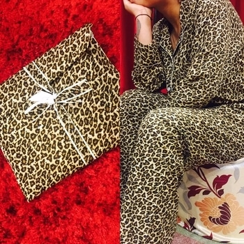 Nightsuits with the same print pouch to keep it! Perfect for a gift!!  #gifts #animalprint #Nightsuit