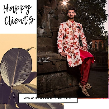 You can have anything you want in life if you dress for it.  How royal @beethelead is looking in this floral print sherwani.  Rent this look at our stores or book online at www.rentanattire.com  #rentanttire #sustainablefashion #makeinindia #fashionrevolution #rentalfashion #whybuywhenyoucanrent #onlinestore #fashionstatement #designerwear #rentthelook #fashionstatement #rentisthenewbuy #happyclient #raahappyclient