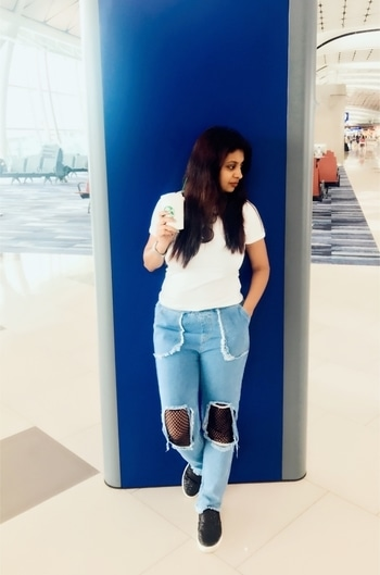 And the #vacation has come to an end , back to work from tomorrow , meanwhile this is the first time I have tried with such fishnet denims well not bad I guess😂 . It has been big trend this year.  Three must haves in your wardrobe -black/white plain tee, denims/shorts and sneakers . That's my #airportstyle for the day❤️✨✈️ #indianblogger #fashionblogger #delhiblogger #reneethereborn #popxoblogger #popxoblognetwork #styleblogger #bloggerstyle #wanderlust #travelgram #travelblogger #picoftheday #potd #fishnet #whatiwore #ootd #otd #potd #summerfashion #musthave #roposoblogger #roposogal #roposolove #roposostyle  #fashionigers #fashionista #trending #me