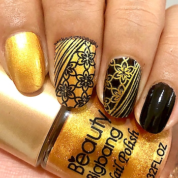 🖤 Black Golden Lace Nail Art Design 🖤  I used: Golden from @beautybigbangs  Black from @bornprettystore  Stamping plate from @beautybigbangs (BBB-XL005)   Hope you like it❤️   #designyournailsbyisha #ishanailart #beautybigbnagnailart #nailartcollab #blackandgoldennails #nailart #naildesign #nails #bbbxl005 #nailartistsunited #nailswag #nailfashion #uñas #nailmagazine #photooftheday #notd #indianailartists #nails2inspire #stampingnailart #soroposo #roposonailart #roposonails #roposofashion