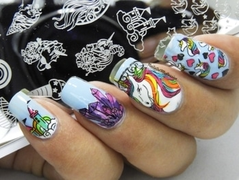 🦄UNICORN NAILS  . 1Pc 春の歌 Rectangle Stamping Plate Unicorn Pattern Manicure Nail Art Plate Harunouta L045 . Item Code #39130 . Available @bornprettystore @bornprettynailart . . Complete Review coming soon on my Youtube Channel.💕 Link on my Bio. . Use my code NMPW10 to get discount of 10% . Products Used: . @unt_global Ready for Take-off, FE040 @juicecosmetics Shade 50, 159 @el_corazon_shop Kaliedoscope No. st-01 Black @orlynails 'PCH Collection' Life's a Beach @reliancetrends Nail Trend G02 Fresh Green, P01 Rose Pink, M01 Lavender @bornprettystore BORN PRETTY No Smudge Top Coat Oil Nail Art Stamping Printed Care #27749 . #nailsartm #roposo #naildesignideas #nailart #nailartforbeginners #glamnails #nailarttutorial #ropsoblogger #soroposo  #nailartvideo #nailblogger #ladies  #youtubevideo #nails #trendingnow #trendingonroposo  #nailartcompilation #roposonails #fashion #diy #youtubechannel #bloggers