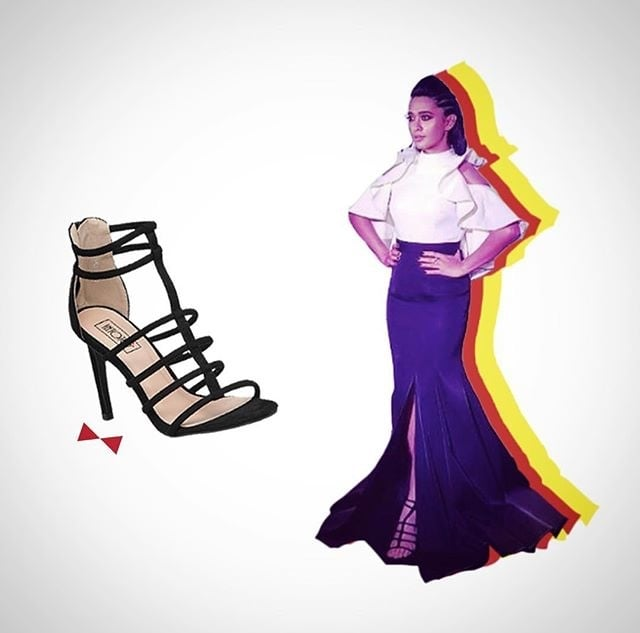 Throwback to when Sayani Gupta added some #oomph to the  @vogueindia #beautyawards #redcarpet #tbt #potd #shoelovetruelove #shoestyle #shoefie #fashion #celebritystyle #