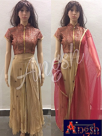#skirt #zardozibooties #side placement #shimmer #coptop #brocade #zipper #frontopen #dupatta #stylish #angsh #jaipur #festiveseason #designer #redgolden Dm to order😊
