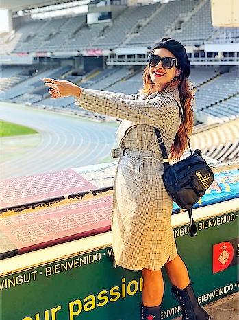 Barcelona Olympic Stadium 😍 : #barcelona #barcelonaolympic #barcelonaolympicstadium #olympicstadium #barcelonacity #spain #europetrip #citytour #luxurylife #travelandleisure #luxurytravel #travelblogger #tour #nehamalik #model #actor #diva #blogger
