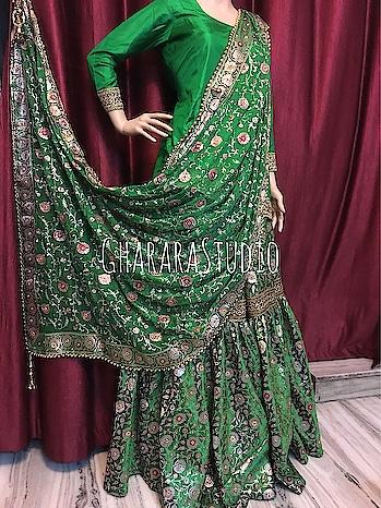 Gharara in Pure kamkhwab with zari and resham weaving on it. Georgette dupatta with embroidery all over. Silk Kurti.    🌈WhatsApp at +919971865919 to order 🌈Deliver complete stitched to your size  🌈Deliver Worldwide   #gharara #ghararastudio #ghararastudiobyshazia #redgharara #kamkhwabgharara #kimkhaab #bridal #wedding #nikah #zari #cutworklace #embroidery #fashion #instafashion #fashiongram #fashionblogger #fashionblog #fashiondiaries #fashionstyle #fashiongirl #fashionpost #indianfashion #indianwedding #muslimahfashion #buyghararaonline #ghararalove #ghararah #muslimbride #pakistanigharara