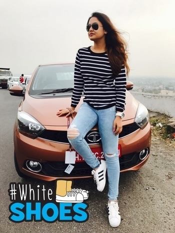The test drive look @Tata motors #tigorstyleback #whiteshoes
