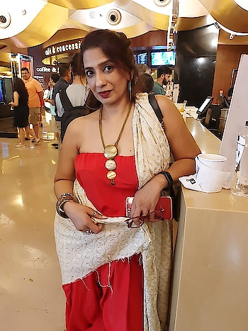 Red ... saree #designer-saree #saree #black-and-red #favourite #dhotistyle .. my #fashion my #styles my #ropo-love #roposo-style #indian #fusion