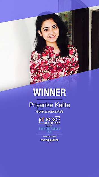 Woohoo! We have the winner of Fashion Fables 2.0 in association with @marieclaire_ind . Congratulations @priyankakalita9 on this epic win.  #Roposo #RoposoDesignBox