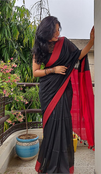 #saree #cottonsaree #redandblack #personalblog #availableforsell