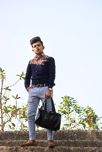 #printedshirt #formal #formallook #bag #formalshoes  #watch #pose #standing #formals #suratblogger  #morning #morninginspiration #morningmotivation #morningpost #ootd #fashionpost #fashion #fashionblogger #fashionstyle #model #modeling  #bloggerstyle  #roposo-style  #soroposofashion  #soroposoblogger #soroposo