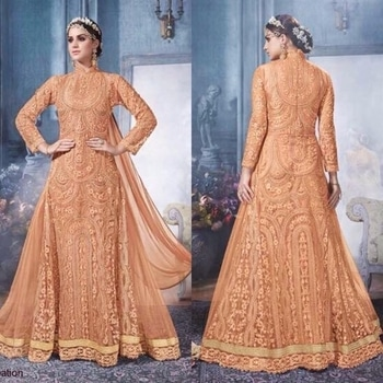Peach Net Floor Length Anarkali Suit Product code - FCSS747  Available at www.fashionclozet.com  Watsapp - +91 9930777376 Email -  info@fashionclozet.com Or DM for enquiries.  #weddingdress #bride #beautifulldress #designerdresses #designerwear #sharara #lengha #saree #florals #silk #glitter #embroidery #wedding #indianweddings #bollywood #bridal #indianwear #clothing #asianbride #indianbride #bridalmakeup #fashionclozet #fashionista #mehndi #wine #ramadan #pakistanitrends #eid #offshoulder #palazzo