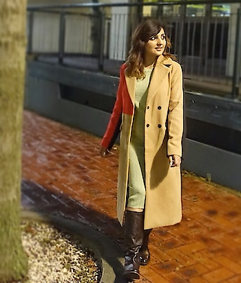 "Styling anything with this @shein_in @sheinofficial super warm Colorblock Double Breasted coat makes it worth a turn back look!!! . Use code ""deepti20"" to avail discount on your purchase on @sheinofficial @shein_in  . Long coat search id: 315278 . #longcoat #shein #wintercoat #newzealand #winterfashion"