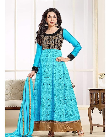 #anarkalisuits #festivewear #ethnicwear #traditional2trendy  Blue Embroidery Anarkali Semi-Stitched Suit