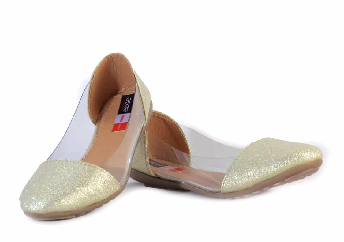 A pair of cream toned ballerinas, synthetic upper with shimmer detail, transparent look  Cushioned footbed