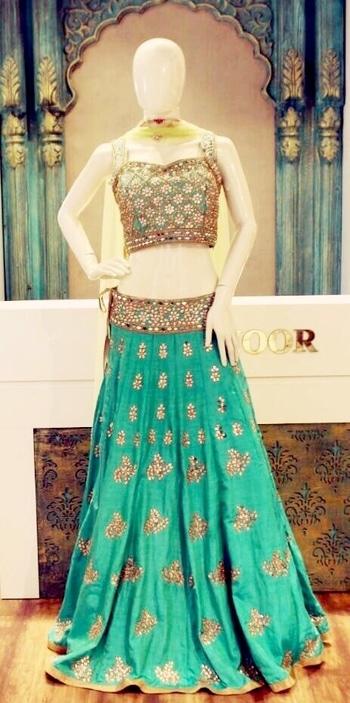 Elegant green Lehenga choli with gold gotta Patti work...Teamed up with a contrasting dupatta.. We're feeling the greens for this summer season. #ellenoor #ellenoorfashion #outfitoftheday #green #Lehenga #wedding #bridal #style #stylish #beautiful #design #embroidery #fashion #shopperholic #ethnic  Add :33rd road, Bandra west  Contact : 022-26494747 / 9892957456