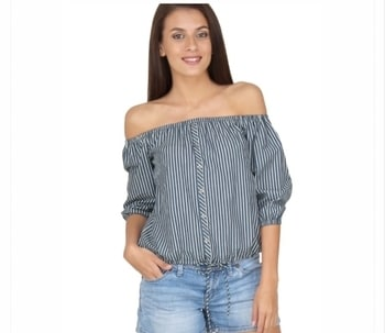 Click on KNOW MORE to shop  Off Shoulder Striped Top ₹995 #offshoulder #offshouldertop #stripes #black-white-striped #stripes top #onlineshopping