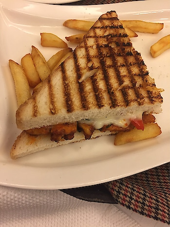 #breakfast #vegPaneertikka #grilled #sandwiches #fries #todaysmood