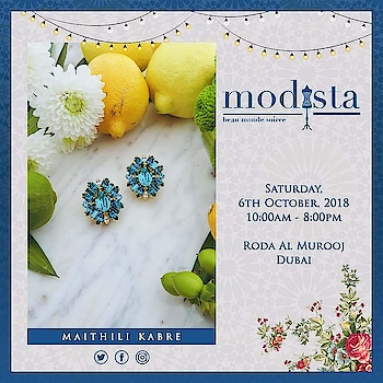 Adding some sparkle and lots of bling with stunning accessories by Maithilikabre At Modista  Saturday, 6th October, 2018 Roda Al Murooj, Dubai.  #maithalikabre #accessories #handcrafted #contemporary #earrings #cuffs #necklace #fashionexpo #modistadxb #fashion #lifestyle #exhibition #jewellery #jewelry #style #fashionlovers #fashionistas #indiandesigners #designers #igfashion #igstyle #dubai