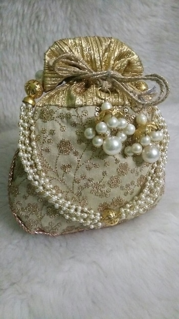 """New launch✨✨✨✨ Exclusive all over work party potli bags✨✨✨✨ both side same 9*7"""" pearl handle dori bandhan wd jhumki💫💫 1200+$ only 🌟🌟🌟🌟🌟🌟🌟🌟"""