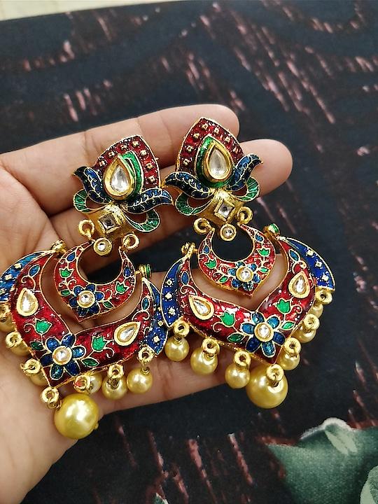 excellent combination of enamel withkundan fabulous earrings
