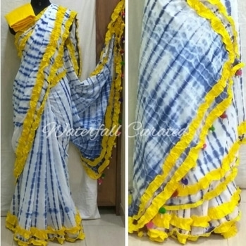 Indigo Shibori Mul Cotton Sarees Yellow colour border with pom pom Price : Rs 2290 (including shipping within India)  COD not available. To buy visit www.waterfallcurated.com Whatsapp no: +919819249926  #indigo #indigolove  #indigosaree #shibori #shiboridye #saree #handmade #onlineshopping #ethnic #designer #fashionforecast2017 #soroposo #pompoms
