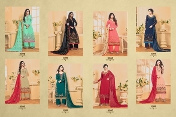 💎Razia💎vol-1                                            👇🏻Fabric details 👇🏻  Top👗-fox jorjat with hevy Embrodery with                           Hand work Inner Botom👖-santoon                       Botom plazo work                    Dupta🎗- najnin with hevy embrodery for               Side border lace Pattern- long stret Pcs- 8 Rate-1295/-