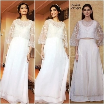 Yay or Nay : Sonam Kapoor in Anita Dongre.The gorgeous actress attended the Divalicious exhibition earlier tonight.She wore an Anita Dongre ensemble which included a white crop top and a pair of palazzo pants and was layered with a sheer embroidered tunic from Anita's Spring 2017 collection.