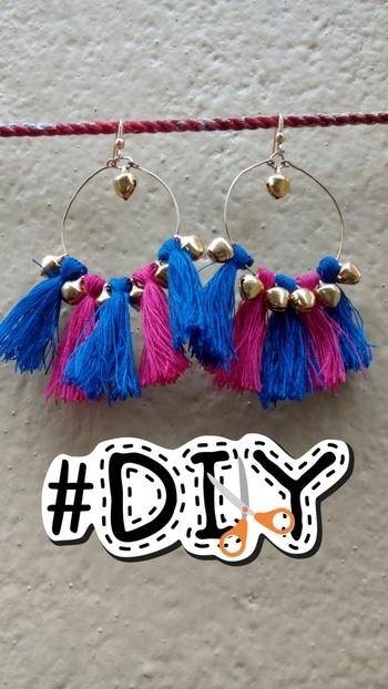 #roposo_post #my_creative #diy_earnings #pinknblue  #tasselearrings  #pink_and_blue_ghungroo_tassel_earnings #matchingofmydress #diy
