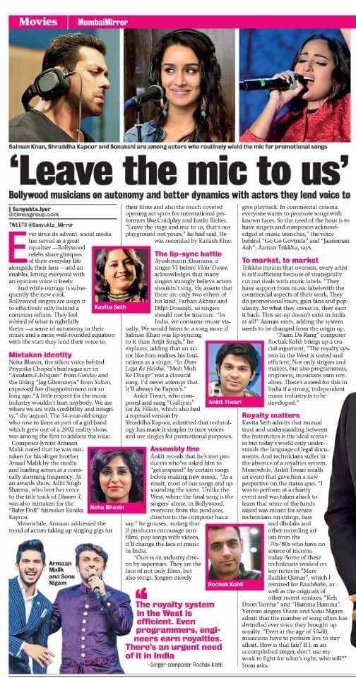 Today's MumbaiMirror.com article carrying my #quotes  about the fact that most of the #musician  are asked about. #must  #read  on ! #Music #Bollywood #AamanTrikha #bollywoodsinger #legend #awarded #truth of life #timesofindia pge 24 #celebrityfile  #mylife #mywork #mypassion #my musical life #musiclove